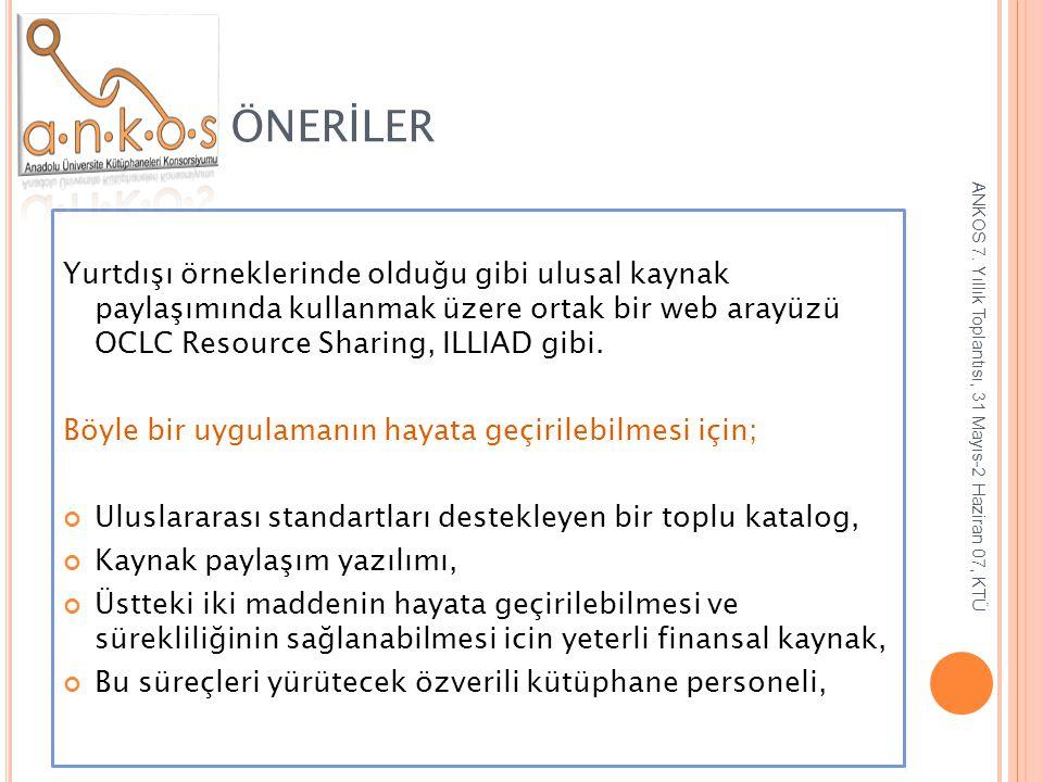 ÖNERİLER Yurtdışı örneklerinde olduğu gibi ulusal kaynak paylaşımında kullanmak üzere ortak bir web arayüzü OCLC Resource Sharing, ILLIAD gibi. Böyle