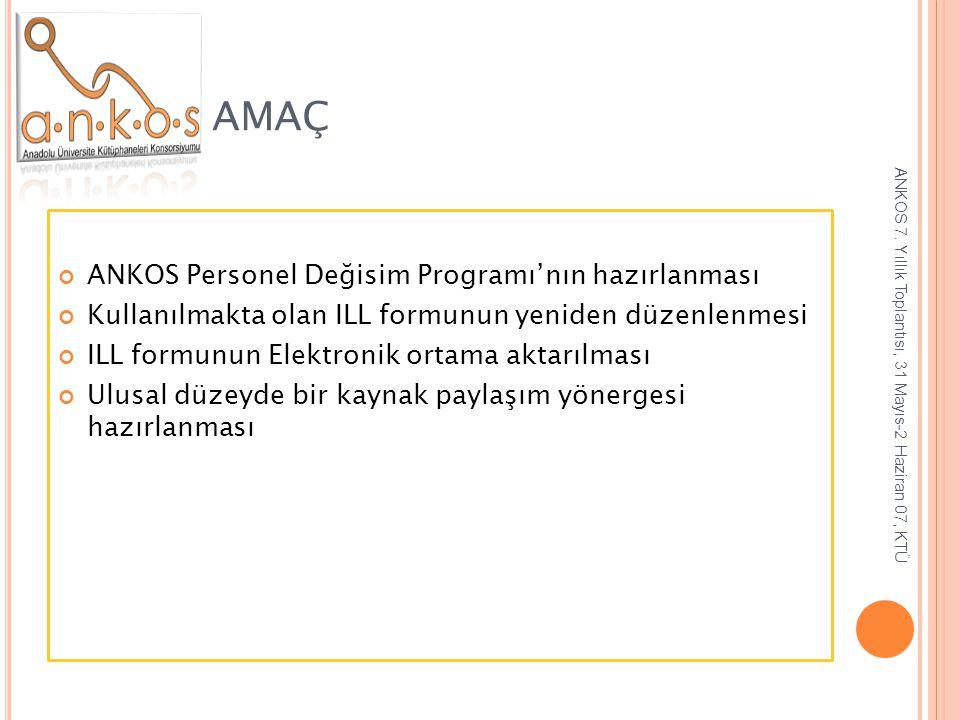 AMAÇ ANKOS Personel Değisim Programı'nın hazırlanması Kullanılmakta olan ILL formunun yeniden düzenlenmesi ILL formunun Elektronik ortama aktarılması