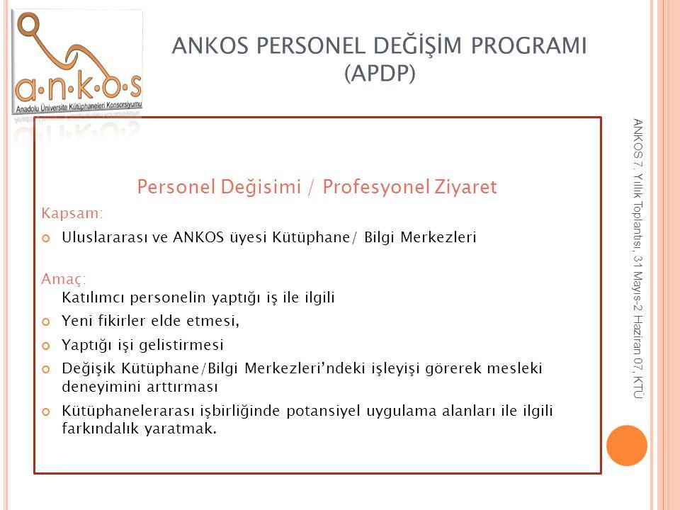 ANKOS PERSONEL DEĞİŞİM PROGRAMI (APDP) Personel Değisimi / Profesyonel Ziyaret Kapsam: Uluslararası ve ANKOS üyesi Kütüphane/ Bilgi Merkezleri Amaç: K