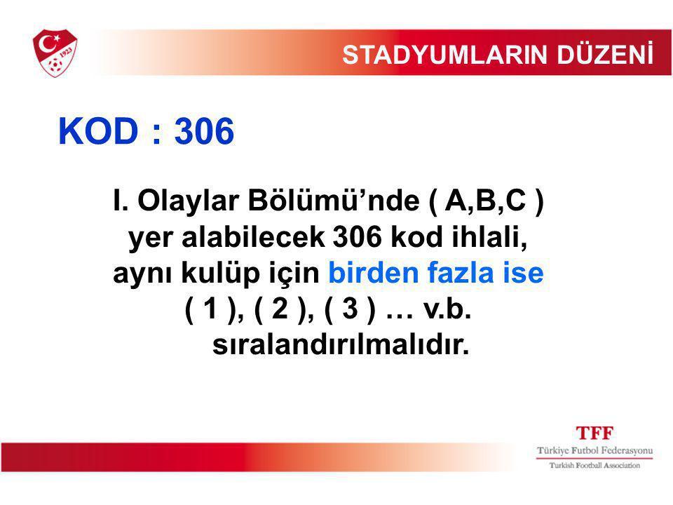 I. Olaylar Bölümü'nde ( A,B,C ) yer alabilecek 306 kod ihlali, aynı kulüp için birden fazla ise ( 1 ), ( 2 ), ( 3 ) … v.b. sıralandırılmalıdır. STADYU