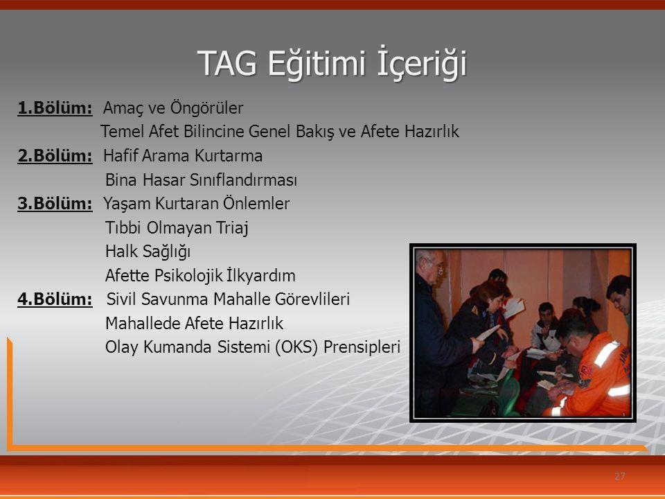 TAG Eğitimi İçeriği 1.Bölüm: Amaç ve Öngörüler Temel Afet Bilincine Genel Bakış ve Afete Hazırlık 2.Bölüm: Hafif Arama Kurtarma Bina Hasar Sınıflandır