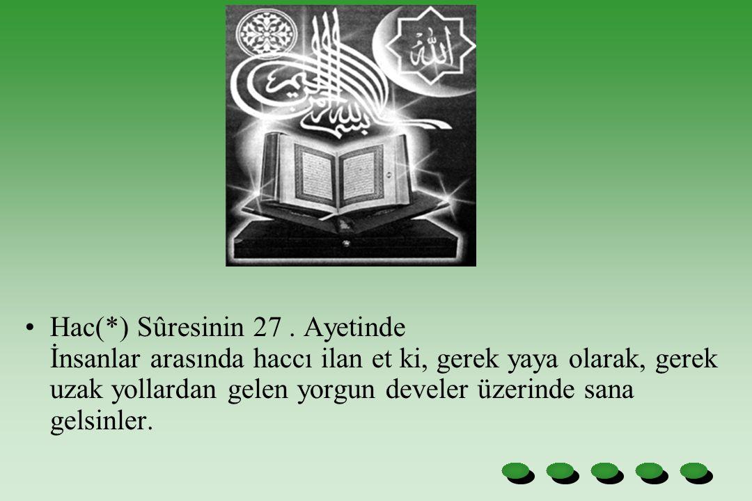 Hac(*) Sûresinin 27. Ayetinde İnsanlar arasında haccı ilan et ki, gerek yaya olarak, gerek uzak yollardan gelen yorgun develer üzerinde sana gelsinler