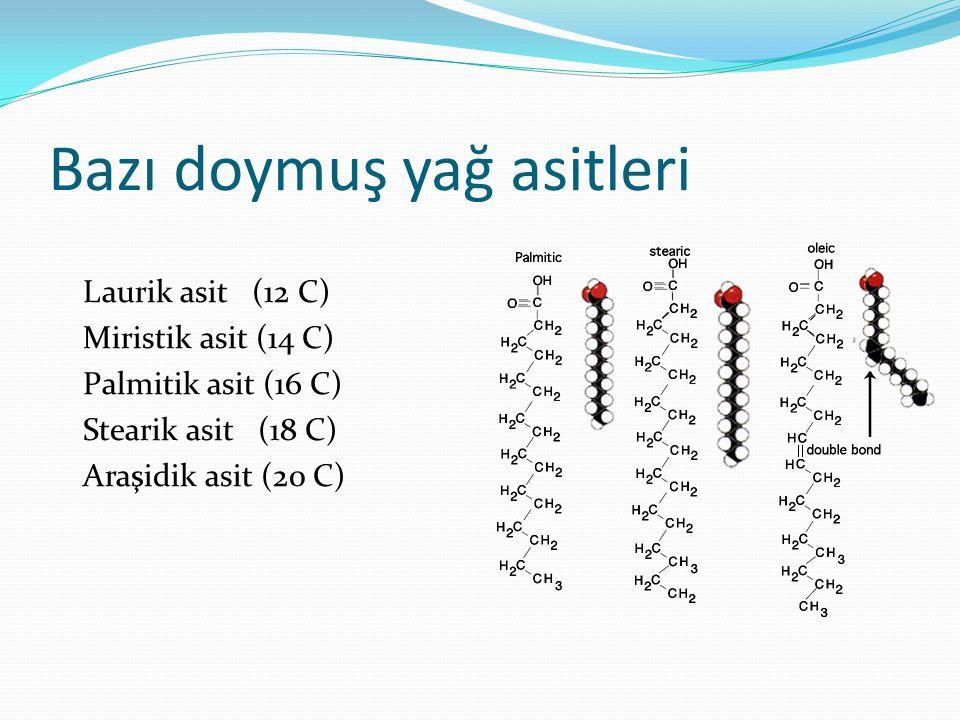 Bazı doymuş yağ asitleri Laurik asit (12 C) Miristik asit (14 C) Palmitik asit (16 C) Stearik asit (18 C) Araşidik asit (20 C)
