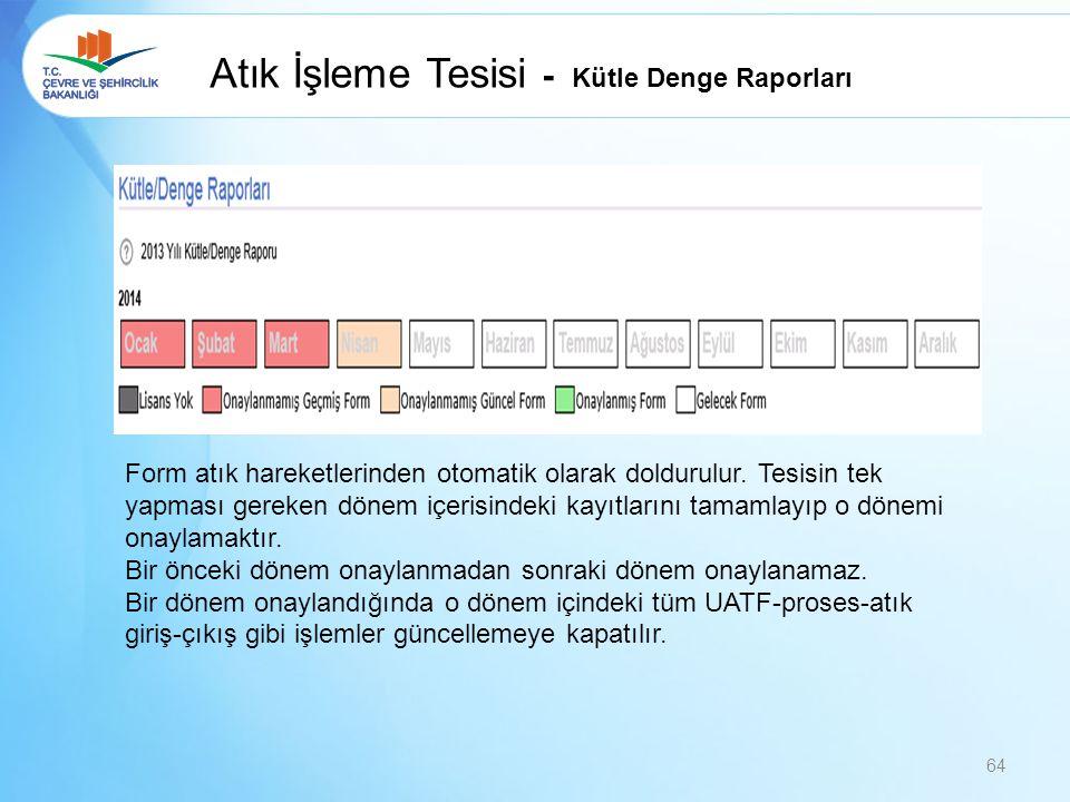 Atık İşleme Tesisi - Kütle Denge Raporları Form atık hareketlerinden otomatik olarak doldurulur. Tesisin tek yapması gereken dönem içerisindeki kayıtl