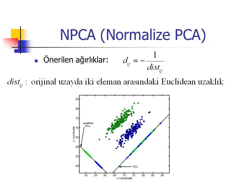 NPCA (Normalize PCA) Önerilen ağırlıklar:
