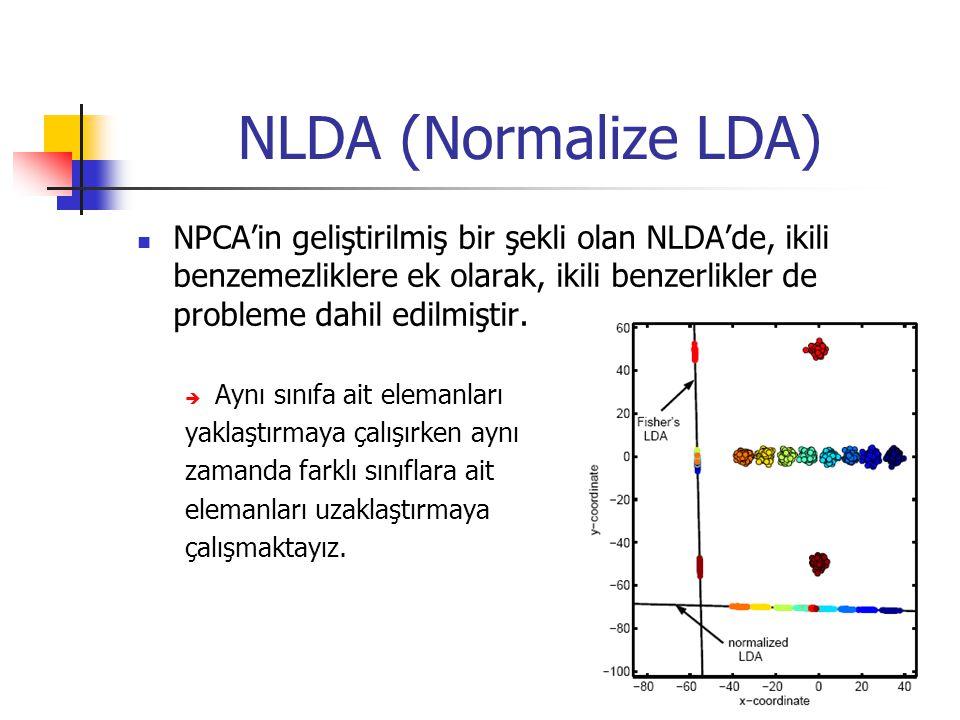 NLDA (Normalize LDA) NPCA'in geliştirilmiş bir şekli olan NLDA'de, ikili benzemezliklere ek olarak, ikili benzerlikler de probleme dahil edilmiştir.