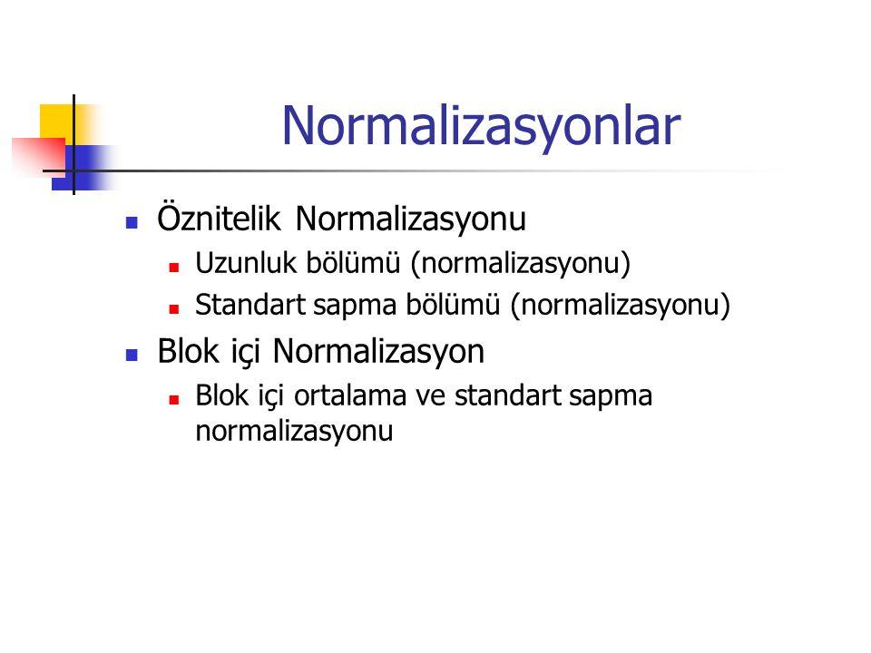 Normalizasyonlar Öznitelik Normalizasyonu Uzunluk bölümü (normalizasyonu) Standart sapma bölümü (normalizasyonu) Blok içi Normalizasyon Blok içi ortal