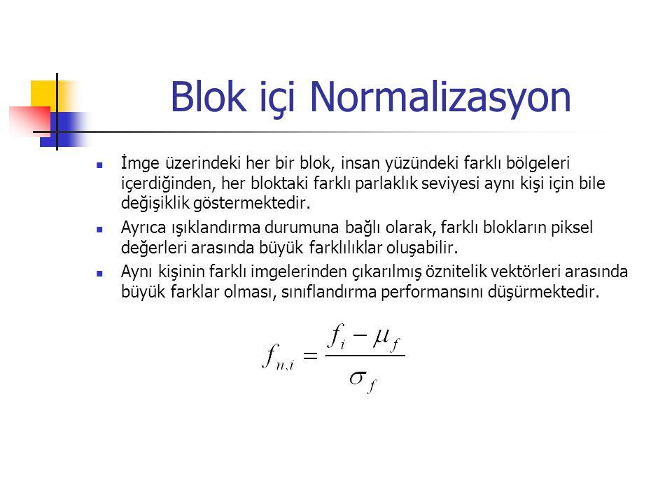 Blok içi Normalizasyon İmge üzerindeki her bir blok, insan yüzündeki farklı bölgeleri içerdiğinden, her bloktaki farklı parlaklık seviyesi aynı kişi i