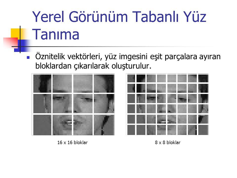 Yerel Görünüm Tabanlı Yüz Tanıma Öznitelik vektörleri, yüz imgesini eşit parçalara ayıran bloklardan çıkarılarak oluşturulur. 16 x 16 bloklar 8 x 8 bl