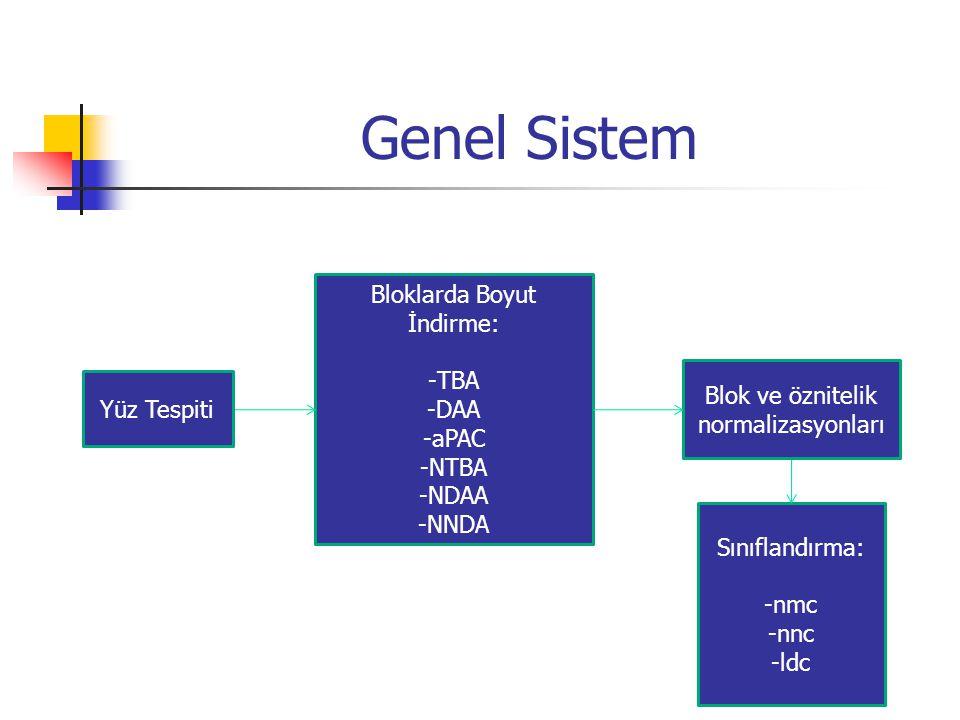 Genel Sistem Bloklarda Boyut İndirme: -TBA -DAA -aPAC -NTBA -NDAA -NNDA Sınıflandırma: -nmc -nnc -ldc Yüz Tespiti Blok ve öznitelik normalizasyonları