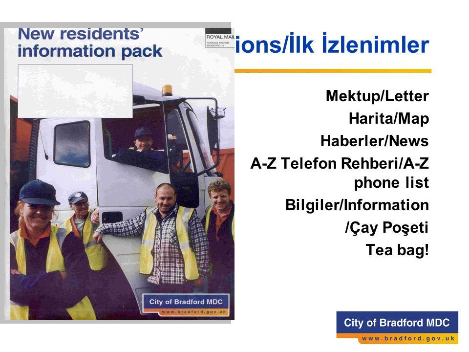 First impressions/İlk İzlenimler Mektup/Letter Harita/Map Haberler/News A-Z Telefon Rehberi/A-Z phone list Bilgiler/Information /Çay Poşeti Tea bag!