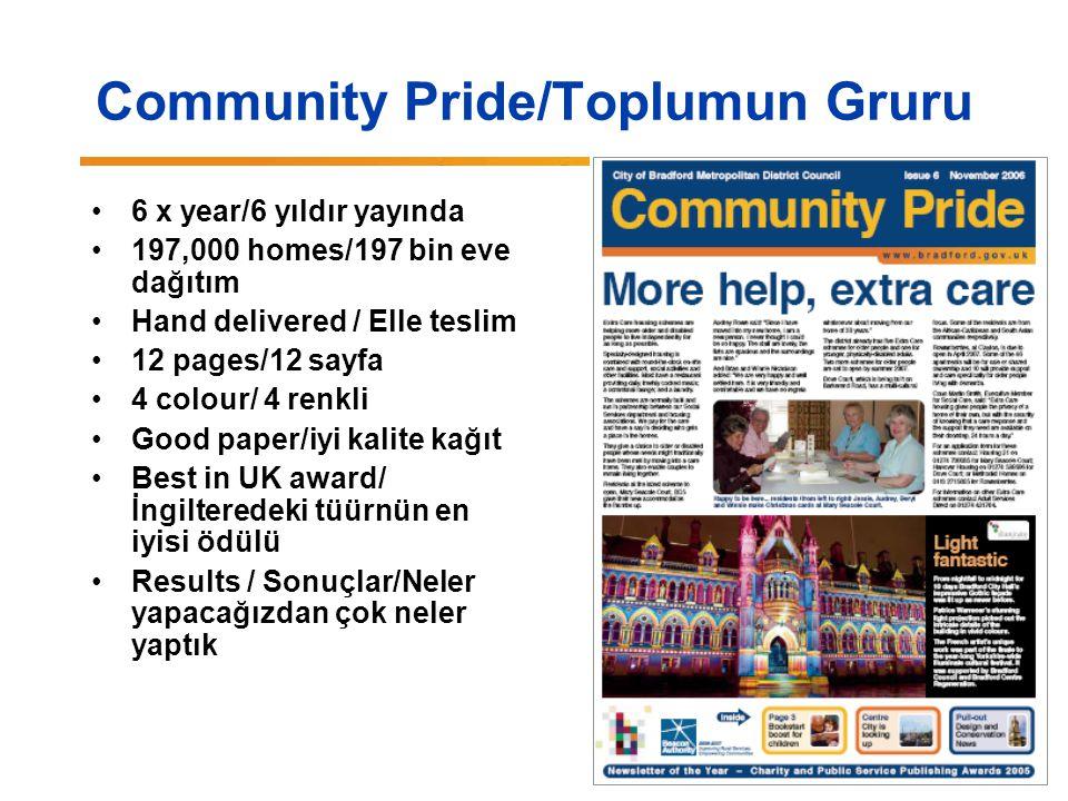 Community Pride/Toplumun Gruru 6 x year/6 yıldır yayında 197,000 homes/197 bin eve dağıtım Hand delivered / Elle teslim 12 pages/12 sayfa 4 colour/ 4 renkli Good paper/iyi kalite kağıt Best in UK award/ İngilteredeki tüürnün en iyisi ödülü Results / Sonuçlar/Neler yapacağızdan çok neler yaptık