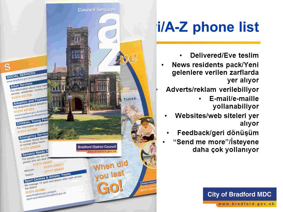 A-Z Telefon Rehberi/A-Z phone list Delivered/Eve teslim News residents pack/Yeni gelenlere verilen zarflarda yer alıyor Adverts/reklam verilebiliyor E-mail/e-maille yollanabiliyor Websites/web siteleri yer alıyor Feedback/geri dönüşüm Send me more /İsteyene daha çok yollanıyor