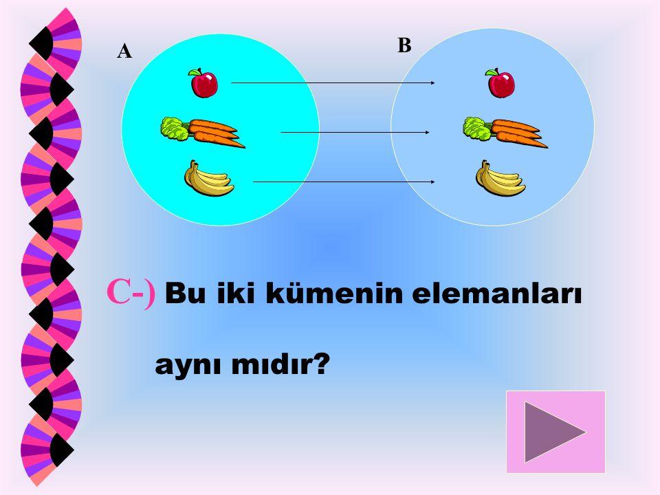 C-) Bu iki kümenin elemanları aynı mıdır? A B