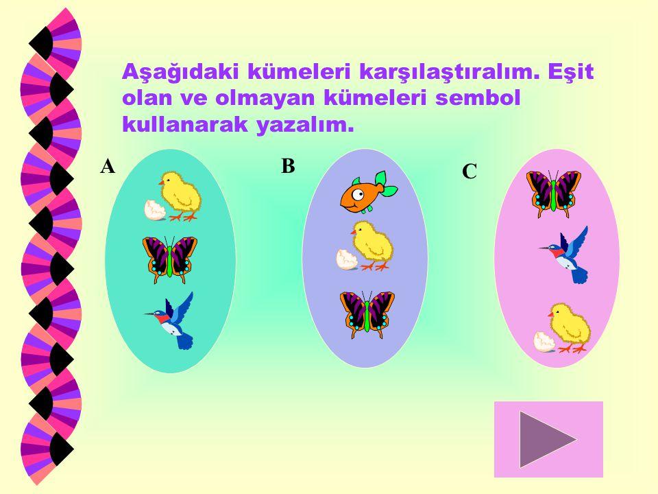 Aşağıdaki kümeleri karşılaştıralım. Eşit olan ve olmayan kümeleri sembol kullanarak yazalım. AB C