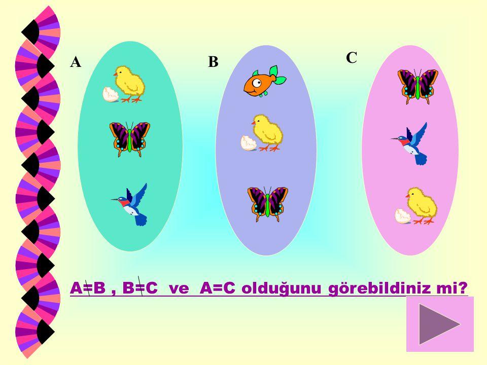 B C A A=B, B=C ve A=C olduğunu görebildiniz mi?