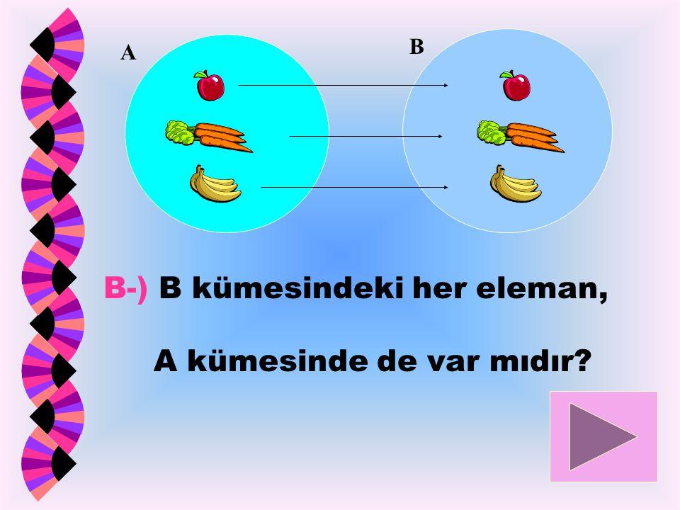 B-) B kümesindeki her eleman, A kümesinde de var mıdır? A B