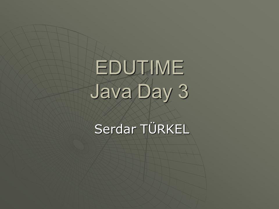 Java İle İlk Program class ornek1{ public static void main(String args[]){ public static void main(String args[]){ System.out.println( edutime ); System.out.println( edutime ); }} Yukarıdaki kodu ornek1.java adı ile kaydedin