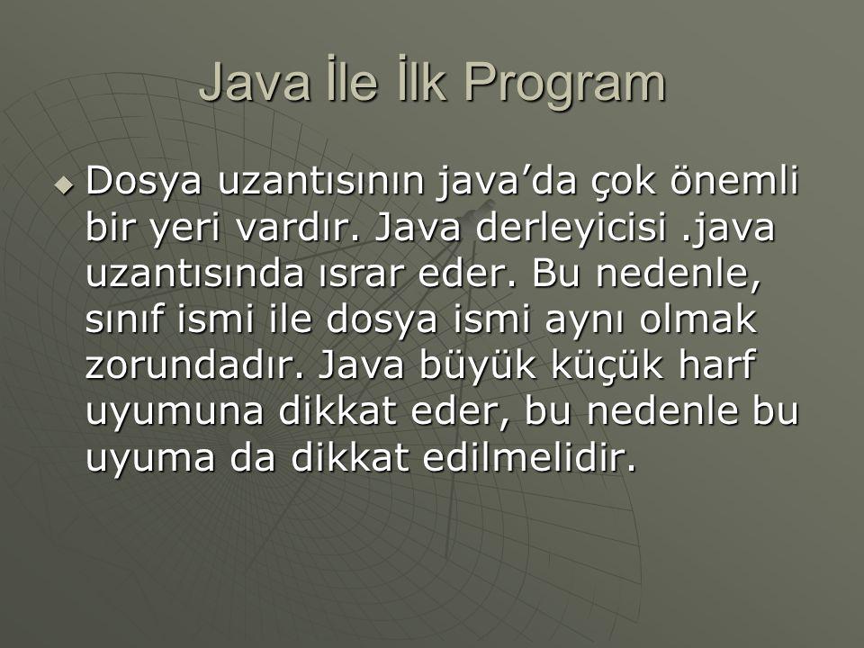 Java İle İlk Program  Dosya uzantısının java'da çok önemli bir yeri vardır. Java derleyicisi.java uzantısında ısrar eder. Bu nedenle, sınıf ismi ile