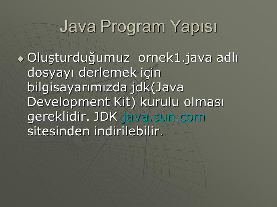 Java Program Yapısı  Oluşturduğumuz ornek1.java adlı dosyayı derlemek için bilgisayarımızda jdk(Java Development Kit) kurulu olması gereklidir. JDK j