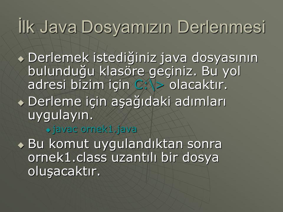 İlk Java Dosyamızın Derlenmesi  Derlemek istediğiniz java dosyasının bulunduğu klasöre geçiniz. Bu yol adresi bizim için C:\> olacaktır.  Derleme iç