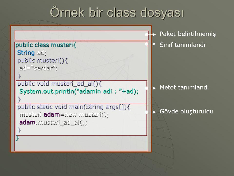 Örnek bir class dosyası Paket belirtilmemiş Sınıf tanımlandı Metot tanımlandı Gövde oluşturuldu public class musteri{ String ad; String ad; public musteri(){ public musteri(){ ad= serdar ; ad= serdar ; } public void musteri_ad_al(){ public void musteri_ad_al(){ System.out.println( adamin adi : +ad); System.out.println( adamin adi : +ad); } public static void main(String args[]){ public static void main(String args[]){ musteri adam=new musteri(); musteri adam=new musteri(); adam.musteri_ad_al(); adam.musteri_ad_al(); }}