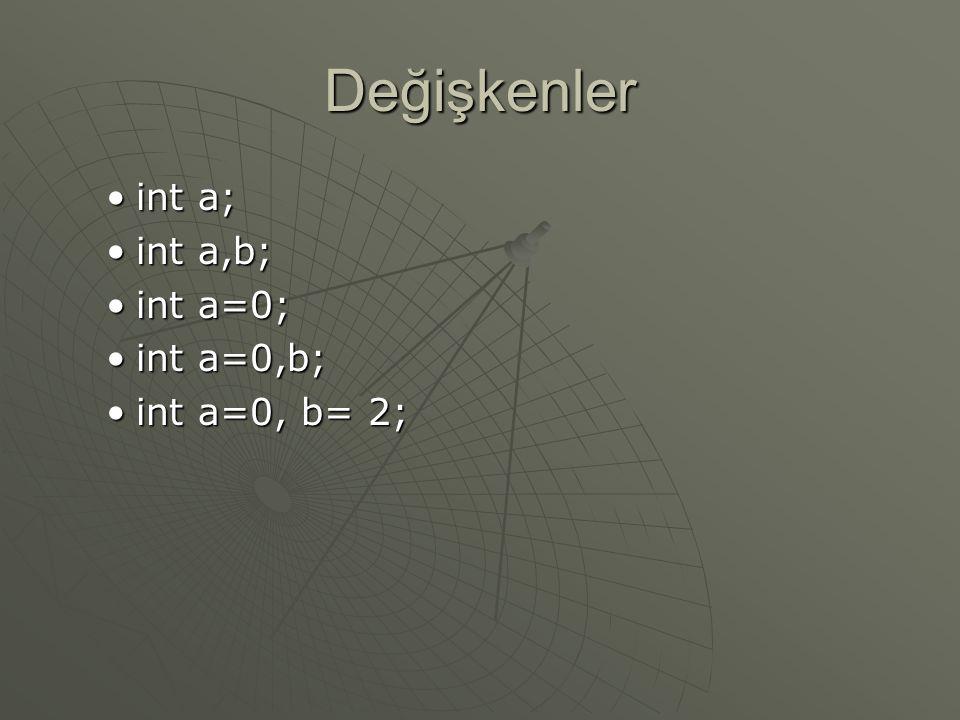 Değişkenler int a;int a; int a,b;int a,b; int a=0;int a=0; int a=0,b;int a=0,b; int a=0, b= 2;int a=0, b= 2;