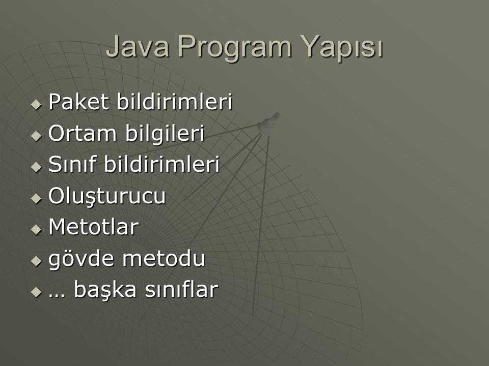 Java Program Yapısı Paket tanımı Ortam bilgileri oluşturucu Metot 1 Metot 2 Gövde ornek1.java package paket; import javax.swing.JFrame; public class ornek1 public ornek1() public void topla(int a,int b) public static void carp(int a,int b) public static void main(String args[])