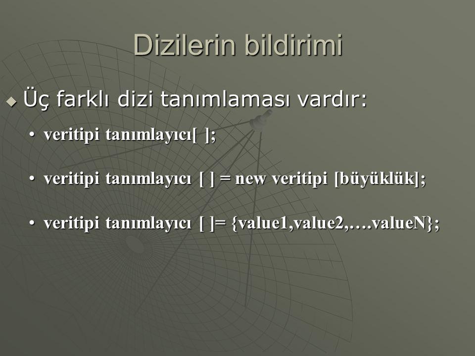 Dizilerin bildirimi  Üç farklı dizi tanımlaması vardır: veritipi tanımlayıcı[ ];veritipi tanımlayıcı[ ]; veritipi tanımlayıcı [ ] = new veritipi [büyüklük];veritipi tanımlayıcı [ ] = new veritipi [büyüklük]; veritipi tanımlayıcı [ ]= {value1,value2,….valueN};veritipi tanımlayıcı [ ]= {value1,value2,….valueN};