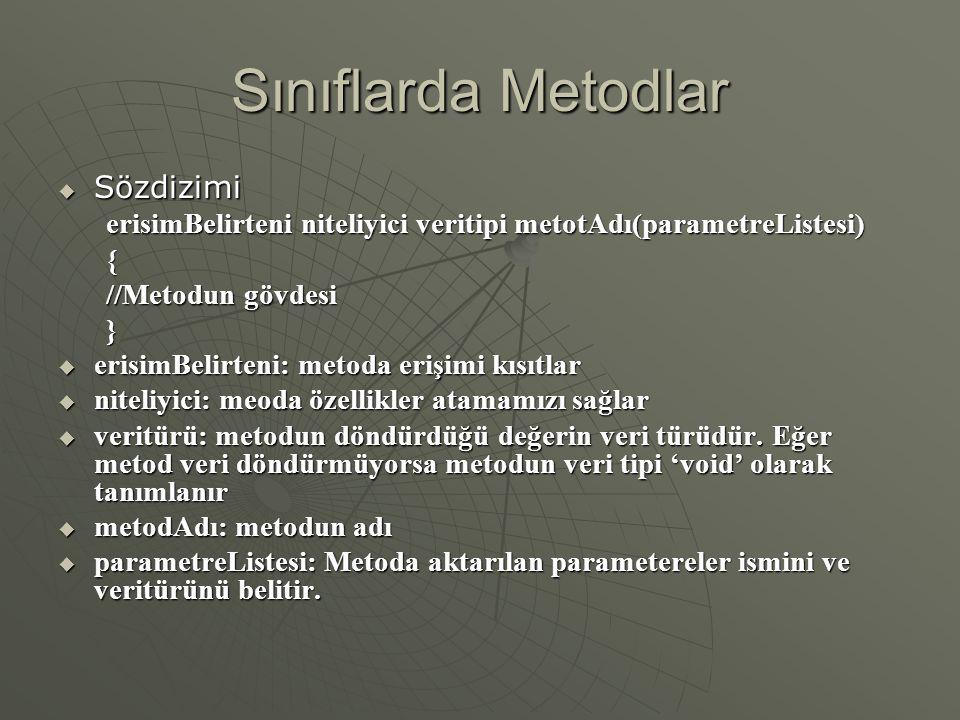 Sınıflarda Metodlar  Sözdizimi erisimBelirteni niteliyici veritipi metotAdı(parametreListesi) { //Metodun gövdesi }  erisimBelirteni: metoda erişimi kısıtlar  niteliyici: meoda özellikler atamamızı sağlar  veritürü: metodun döndürdüğü değerin veri türüdür.