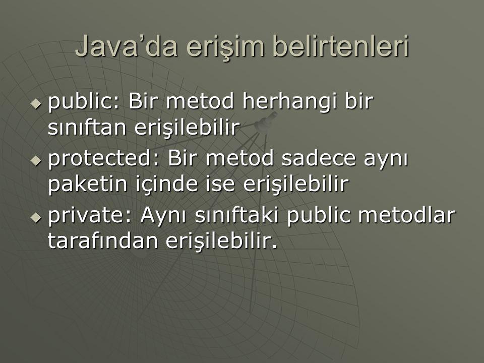 Java'da erişim belirtenleri  public: Bir metod herhangi bir sınıftan erişilebilir  protected: Bir metod sadece aynı paketin içinde ise erişilebilir  private: Aynı sınıftaki public metodlar tarafından erişilebilir.