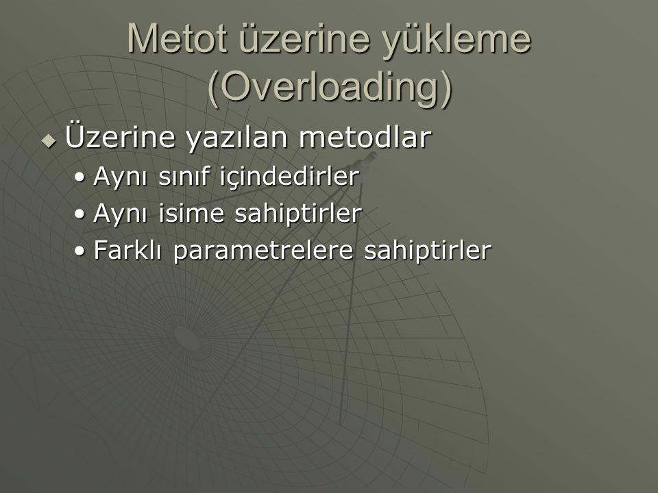 Metot üzerine yükleme (Overloading)  Üzerine yazılan metodlar Aynı sınıf içindedirlerAynı sınıf içindedirler Aynı isime sahiptirlerAynı isime sahiptirler Farklı parametrelere sahiptirlerFarklı parametrelere sahiptirler