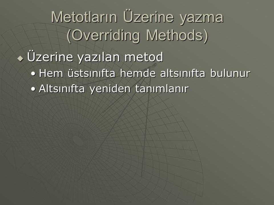 Metotların Üzerine yazma (Overriding Methods)  Üzerine yazılan metod Hem üstsınıfta hemde altsınıfta bulunurHem üstsınıfta hemde altsınıfta bulunur Altsınıfta yeniden tanımlanırAltsınıfta yeniden tanımlanır