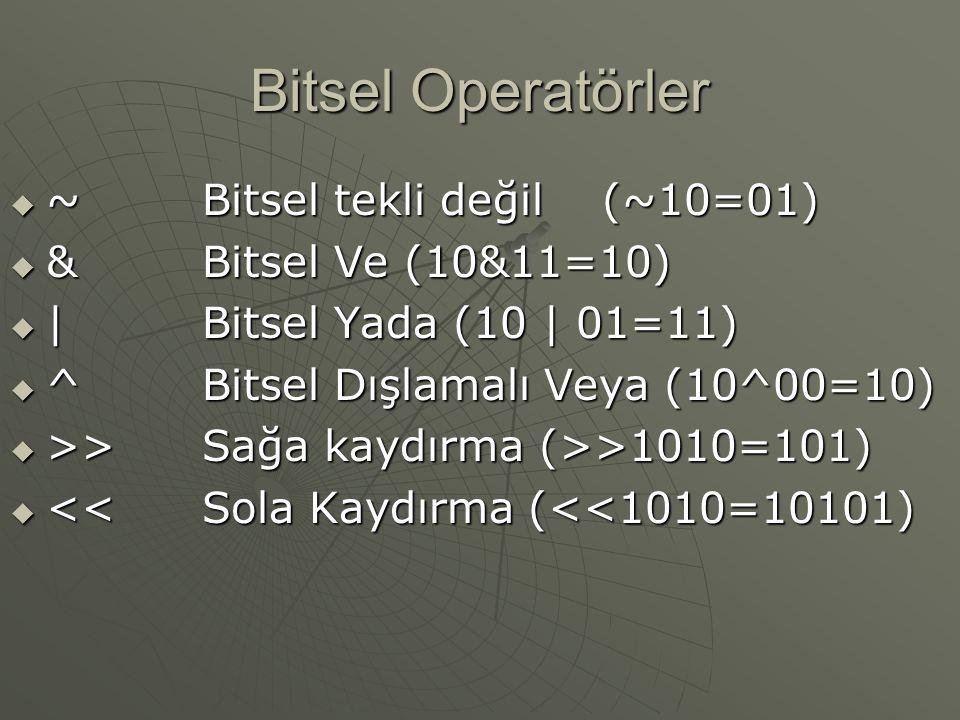Bitsel Operatörler  ~Bitsel tekli değil (~10=01)  &Bitsel Ve (10&11=10)  |Bitsel Yada (10 | 01=11)  ^Bitsel Dışlamalı Veya (10^00=10)  >>Sağa kaydırma (>>1010=101)  <<Sola Kaydırma (<<1010=10101)