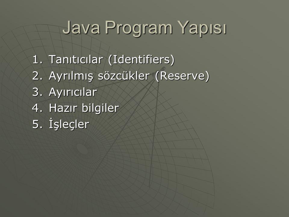Java Program Yapısı  Tanıtıcılar (Identifiers) Değişkenlere, metotlara ve sınıflara verilen isimleri belirtir.