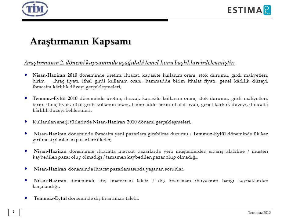Temmuz 2010 Araştırmanın Kapsamı Araştırmanın 2. dönemi kapsamında aşağıdaki temel konu başlıkları irdelenmiştir: Nisan-Haziran 2010 döneminde üretim,