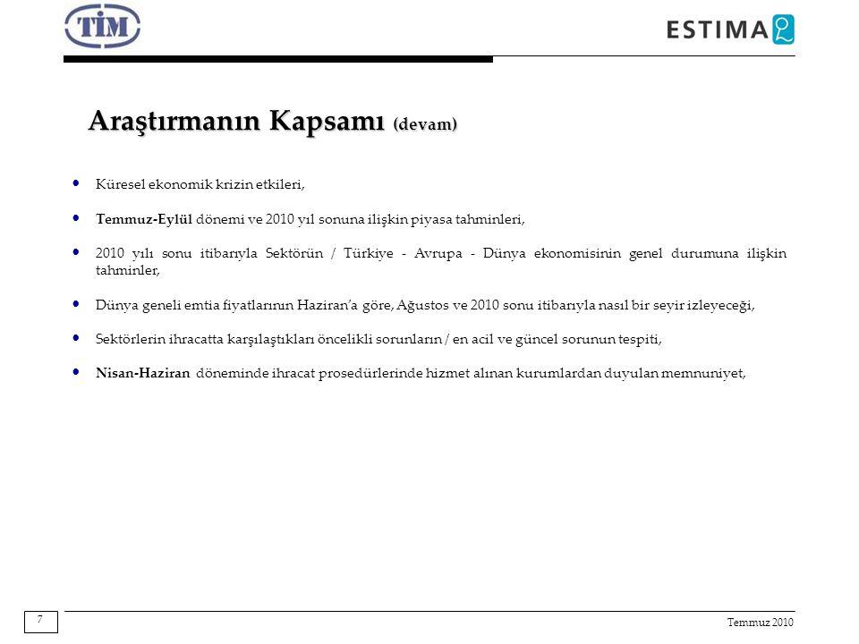 Temmuz 2010 Araştırmanın Kapsamı (devam) Küresel ekonomik krizin etkileri, Temmuz-Eylül dönemi ve 2010 yıl sonuna ilişkin piyasa tahminleri, 2010 yılı sonu itibarıyla Sektörün / Türkiye - Avrupa - Dünya ekonomisinin genel durumuna ilişkin tahminler, Dünya geneli emtia fiyatlarının Haziran'a göre, Ağustos ve 2010 sonu itibarıyla nasıl bir seyir izleyeceği, Sektörlerin ihracatta karşılaştıkları öncelikli sorunların / en acil ve güncel sorunun tespiti, Nisan-Haziran döneminde ihracat prosedürlerinde hizmet alınan kurumlardan duyulan memnuniyet, 7