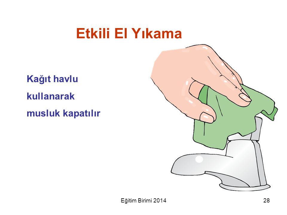 Kağıt havlu kullanarak musluk kapatılır Etkili El Yıkama 28Eğitim Birimi 2014