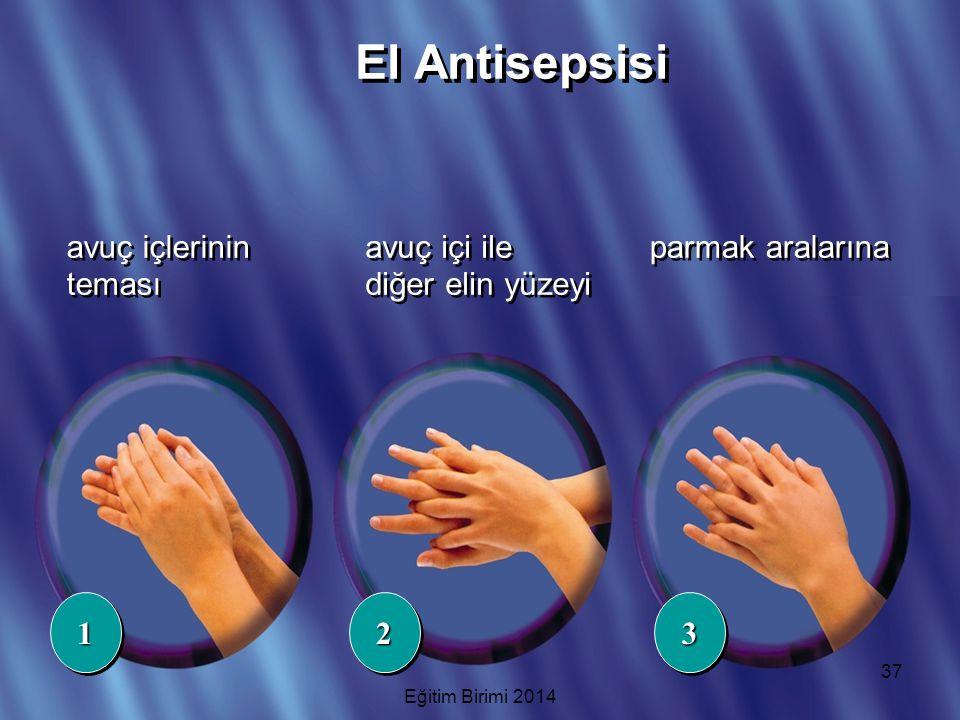 avuç içlerinin teması avuç içi ile diğer elin yüzeyi 112233 parmak aralarına El Antisepsisi 37 Eğitim Birimi 2014