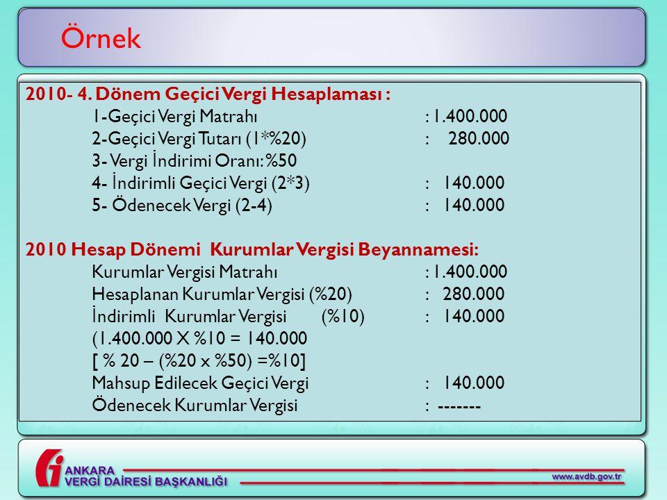 2010- 4. Dönem Geçici Vergi Hesaplaması : 1-Geçici Vergi Matrahı : 1.400.000 2-Geçici Vergi Tutarı (1*%20): 280.000 3- Vergi İ ndirimi Oranı: %50 4- İ