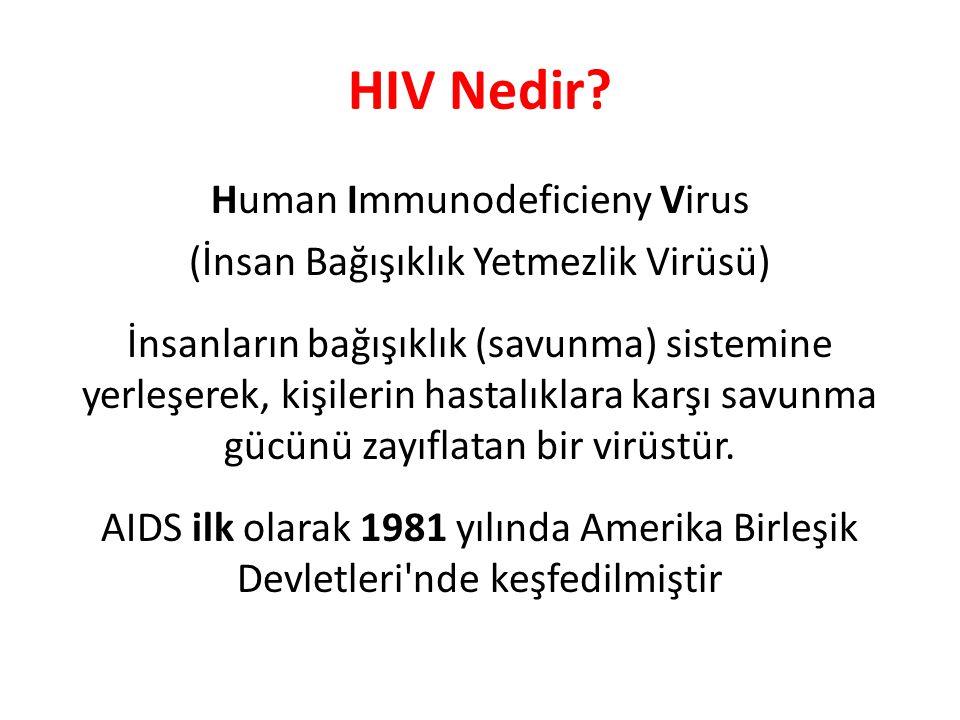 HIV Nedir? Human Immunodeficieny Virus (İnsan Bağışıklık Yetmezlik Virüsü) İnsanların bağışıklık (savunma) sistemine yerleşerek, kişilerin hastalıklar