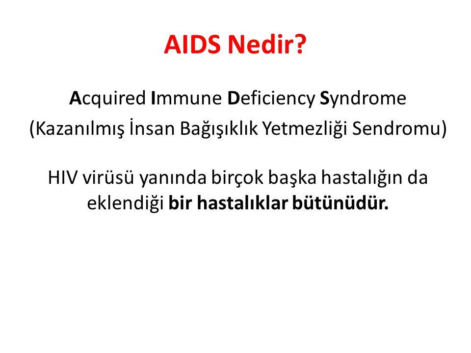 AIDS Nedir? Acquired Immune Deficiency Syndrome (Kazanılmış İnsan Bağışıklık Yetmezliği Sendromu) HIV virüsü yanında birçok başka hastalığın da eklend