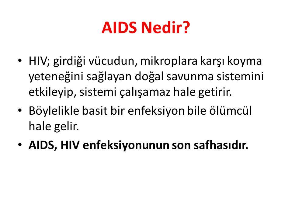 AIDS Nedir? HIV; girdiği vücudun, mikroplara karşı koyma yeteneğini sağlayan doğal savunma sistemini etkileyip, sistemi çalışamaz hale getirir. Böylel