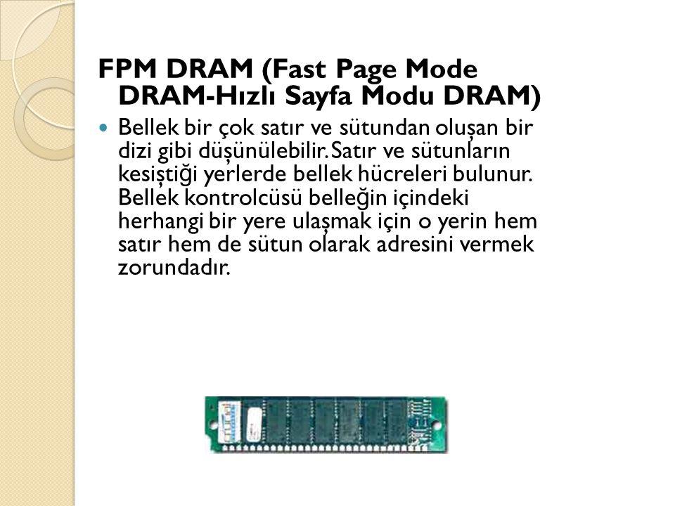 FPM DRAM (Fast Page Mode DRAM-Hızlı Sayfa Modu DRAM) Bellek bir çok satır ve sütundan oluşan bir dizi gibi düşünülebilir.
