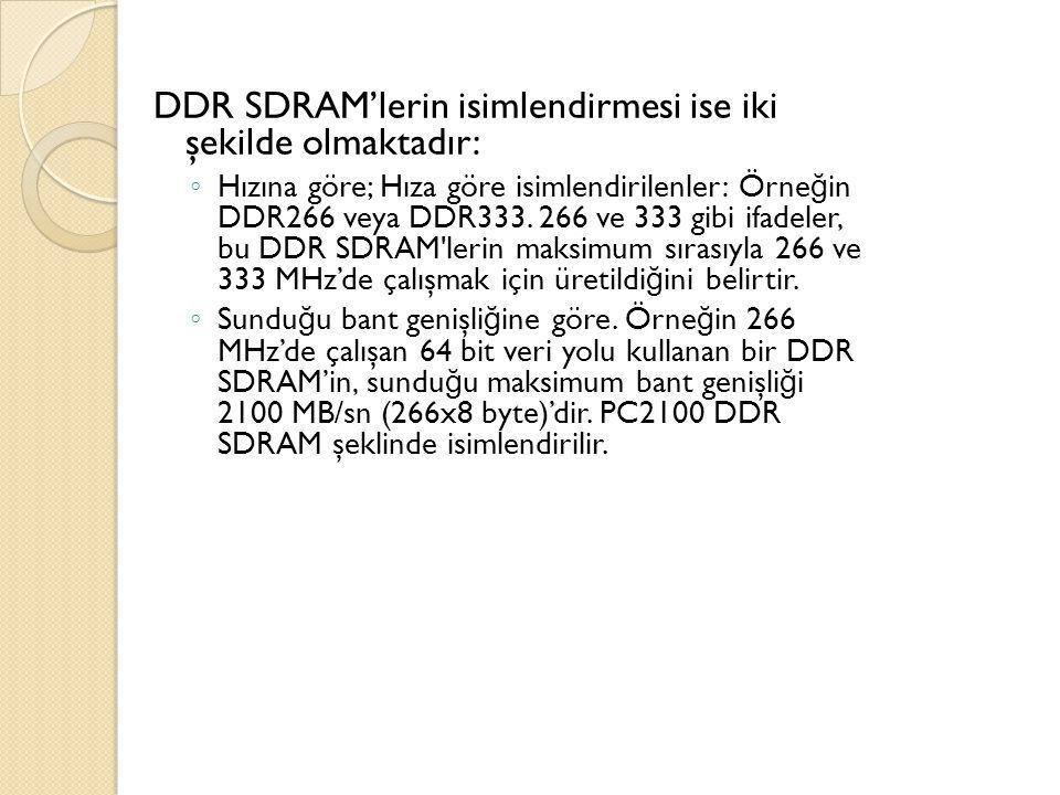 DDR SDRAM'lerin isimlendirmesi ise iki şekilde olmaktadır: ◦ Hızına göre; Hıza göre isimlendirilenler: Örne ğ in DDR266 veya DDR333.