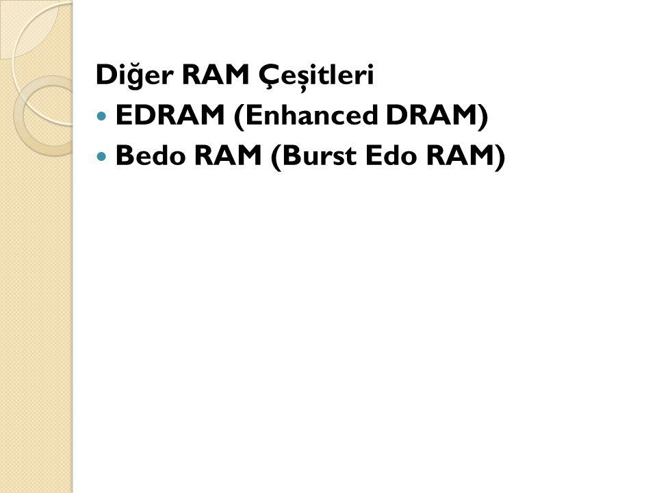 Di ğ er RAM Çeşitleri EDRAM (Enhanced DRAM) Bedo RAM (Burst Edo RAM)