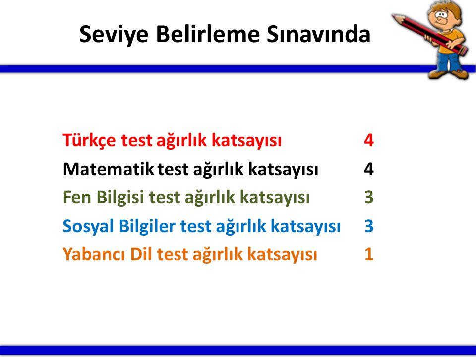 Türkçe test ağırlık katsayısı4 Matematik test ağırlık katsayısı 4 Fen Bilgisi test ağırlık katsayısı 3 Sosyal Bilgiler test ağırlık katsayısı 3 Yabanc
