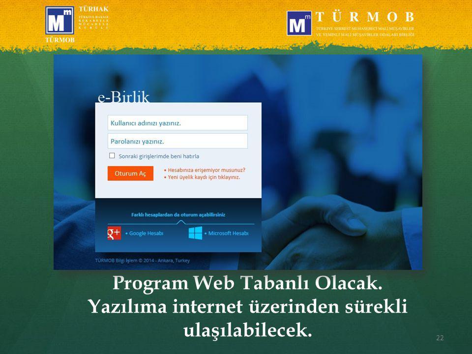22 Program Web Tabanlı Olacak. Yazılıma internet üzerinden sürekli ulaşılabilecek.