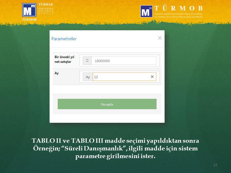 27 TABLO II ve TABLO III madde seçimi yapıldıktan sonra Örneğin; Süreli Danışmanlık , ilgili madde için sistem parametre girilmesini ister.
