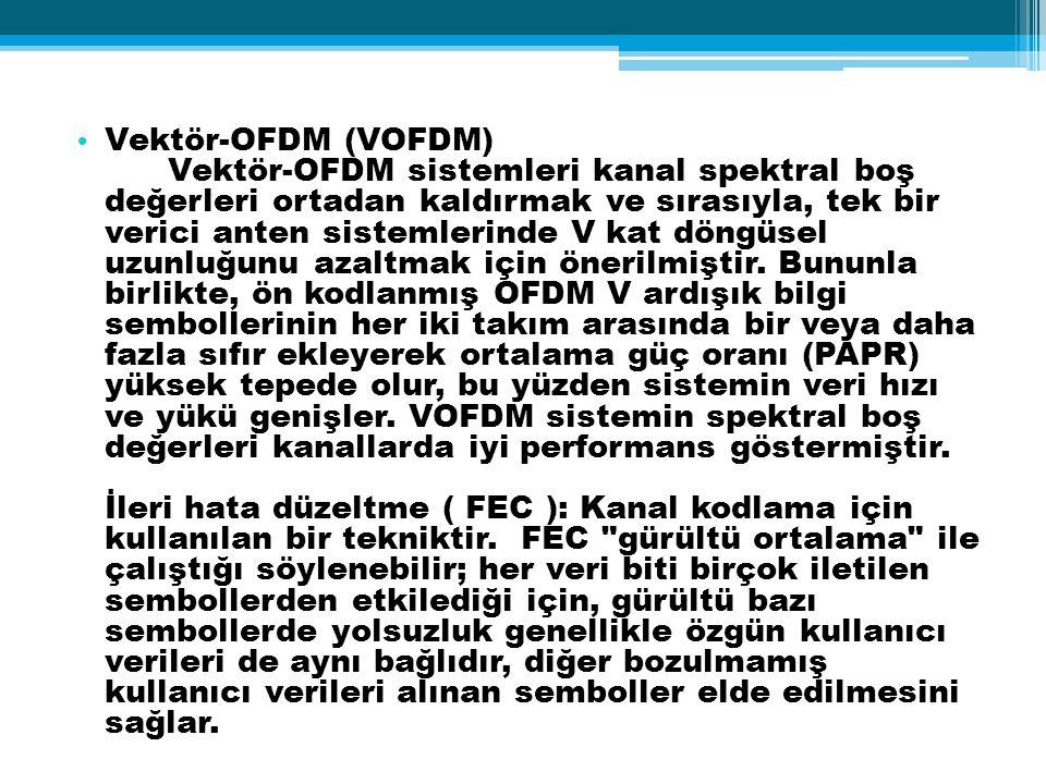 Vektör-OFDM (VOFDM) Vektör-OFDM sistemleri kanal spektral boş değerleri ortadan kaldırmak ve sırasıyla, tek bir verici anten sistemlerinde V kat döngü